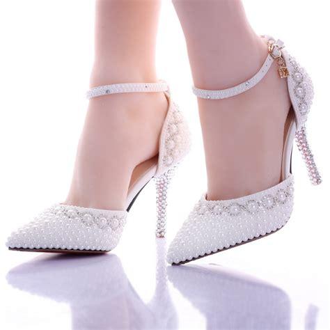 summer white pearl diamond wedding shoes high
