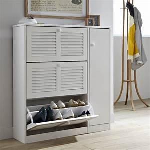 Meuble Casier Blanc : meuble chaussures pratique pour un domicile bien rang ~ Teatrodelosmanantiales.com Idées de Décoration
