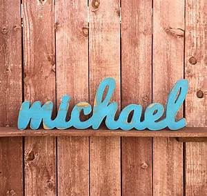 large wood sign michael custom wooden name sign cursive With standing wood letters michaels