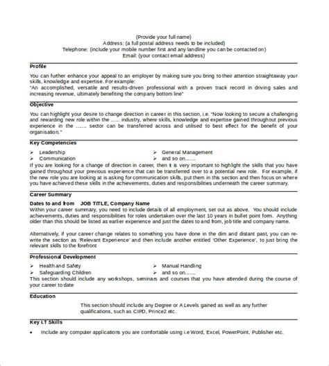 Professional Cv Template Word Document by Sle Professional Cv 8 Free Documents In Pdf