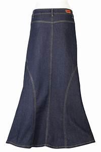 Darling Denim Indigo Modest Skirt   Long Jean Skirt Plus Size 20