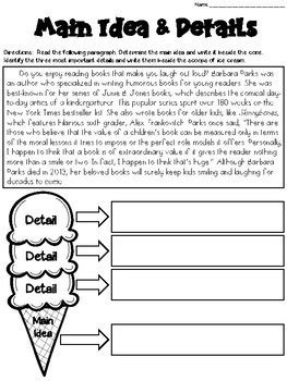 main idea worksheets with graphic organizers grades 4 6