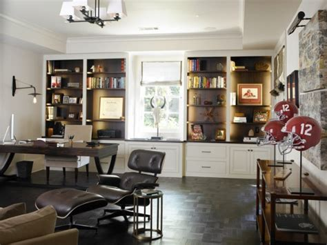 stylish  dramatic masculine home office design ideas