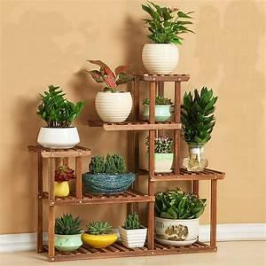 wood flower rack home garden decor 6 tier etagere plant With katzennetz balkon mit home garden decoration