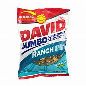 David Jumbo Sunflower Seed Pouches Ranch 5.25 Oz Box Of 12 ...
