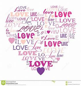 Love In Word Collage Composed In Heart Shape Stock ...