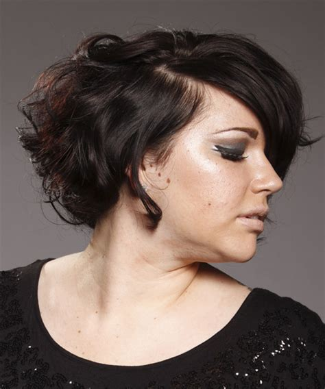short wavy mocha hairstyle  side swept bangs