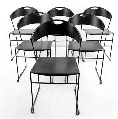 X 6 Black Metal Dining Room Chairs  Chair  Seating Via
