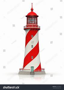 Red Lighthouse Isolated On White Background Stock