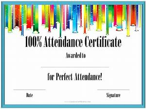 100 Attendance Certificate Template Perfect Attendance Award Certificates Free Instant Download