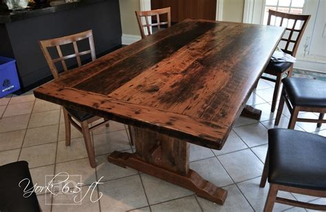 reclaimed wood kitchen table reclaimed wood trestle table in toronto ontario house