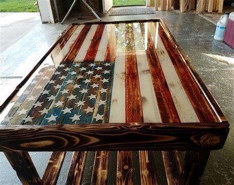 The table top is even proportional to an actual flag. S-19 Stained glass Side lights Colorful Shapes | Etsy in 2020 | American flag wood, Coffee table ...