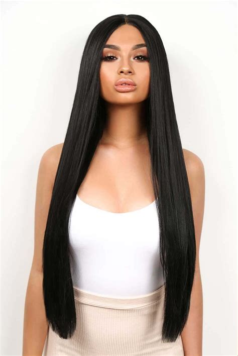 kourtney long straight jet black lace front wig