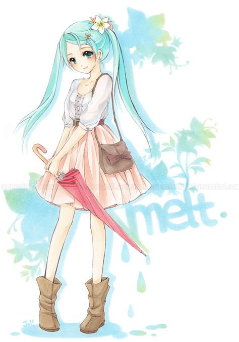 Melt Hatsune Miku Anime And Safebooru Aqua Aqua Hair Bag Belt Blouse Boots