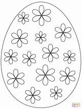 Easter Egg Coloring Pages Flowers Eggs Printable Simple Flower Drawing Puzzle Pattern Supercoloring Crafts sketch template