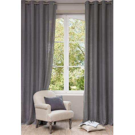 chambre bébé garçon rideau à œillets en lavé gris 130 x 300 cm maisons