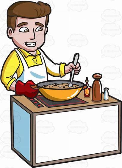 Dinner Clipart Cook Making Meal Cooked Cooking