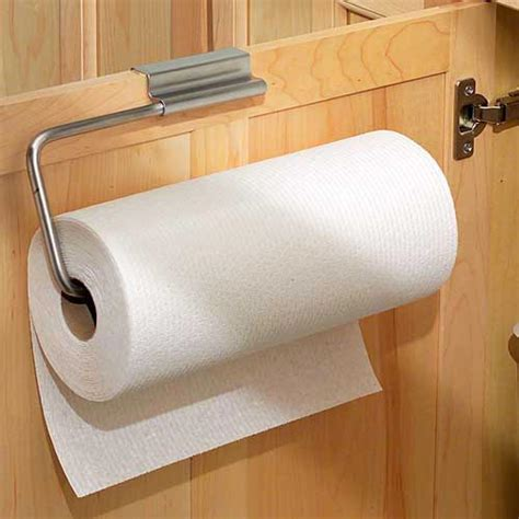 Kitchen Cabinets Organization Ideas - over cabinet door paper towel holder stainless in paper towel holders