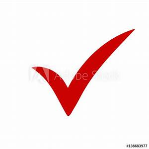 Red tick. Red check mark. Tick symbol, icon, sign in red ...