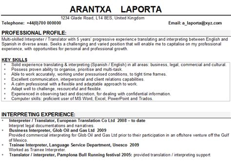 Interpreter Translator Resume Sle by Interpreter Translator Cv Sle