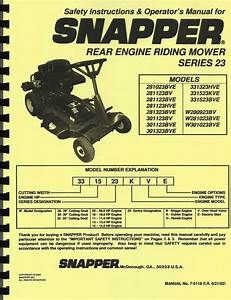 Snapper Series 23 Riding Mower Operator U0026 39 S Manual