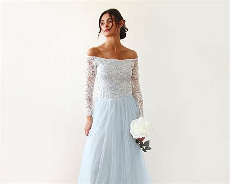 Two Colors Wedding Dress Off-shoulder Lace Gown Lace And