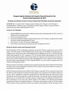 Pangaea Logistics Solutions Ltd. 2017 Q3 - Results ...