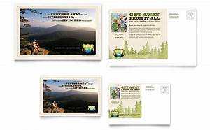 Flyer Word Template Free Nature Camping Hiking Postcard Template Design