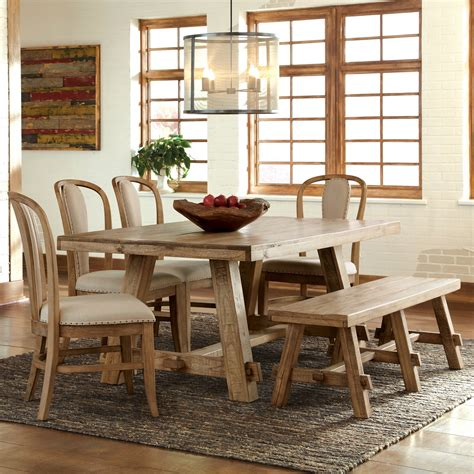 light wood kitchen table riverside ridgedale 6 dining table set with bow back 7019