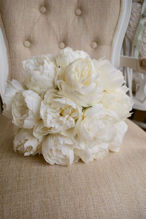 luxury ivory peony wedding bouquet   bridal