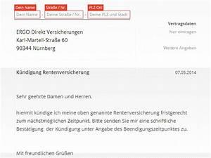 Riester Rente Vorzeitige Auszahlung Berechnen : ergo direkt rentenversicherung k ndigen vorlage ~ Themetempest.com Abrechnung