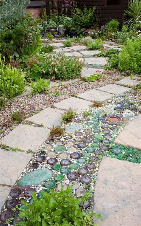 patio  plants planted  paving slabs