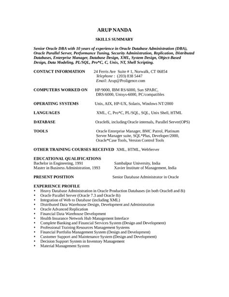resume for oracle dba manager combination oracle database administrator resume template