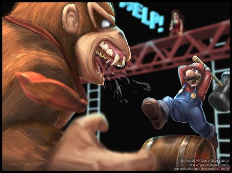 Tomt Mario And Dk Fighting But Hyper Realistic Image
