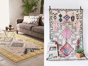 quel style de tapis choisir pour une deco boheme With tapis kilim avec bout de canapé marbre