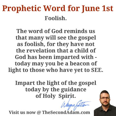 June 1 Daily Prophetic Word Of God  The Second Adam