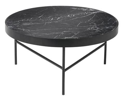Table basse Marble Large / Ø 70,5 x H 35 cm Marbre noir / Pied noir   Ferm Living