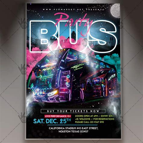party bus club flyer psd template psdmarket
