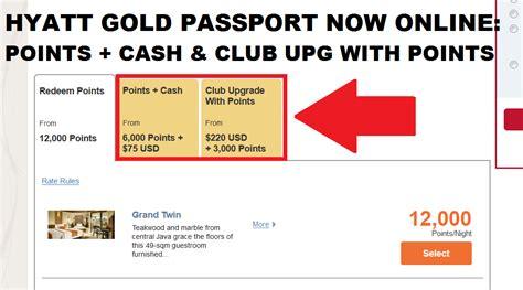hyatt gold passport points club upgrade with