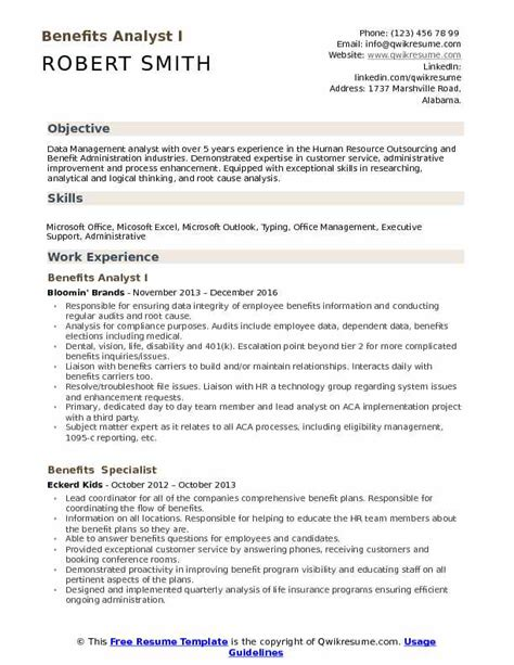Resume Build Relationships by Benefits Analyst Resume Sles Qwikresume