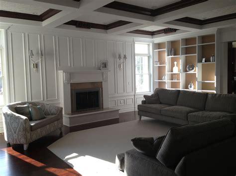 syosset ny family room coffered ceiling  damask tone