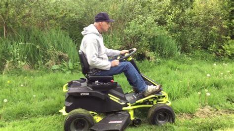 Ryobi Rm480ex Electric Riding Mower Cutting Tall Grass