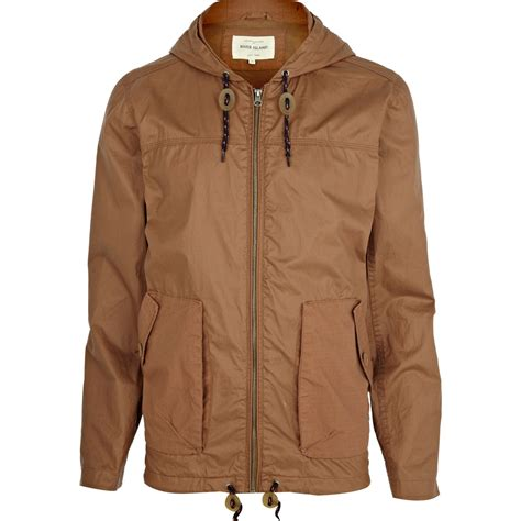 light bomber jacket mens river island light brown casual hooded bomber jacket in