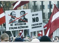 German antifascists face down proNazi Latvian