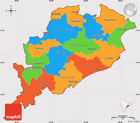 political simple map  orissa cropped