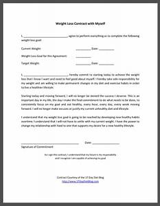 Weight loss contract with myself 17 day diet for Exercise contract template