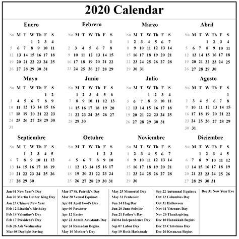 printable spanish calendar calendario printable