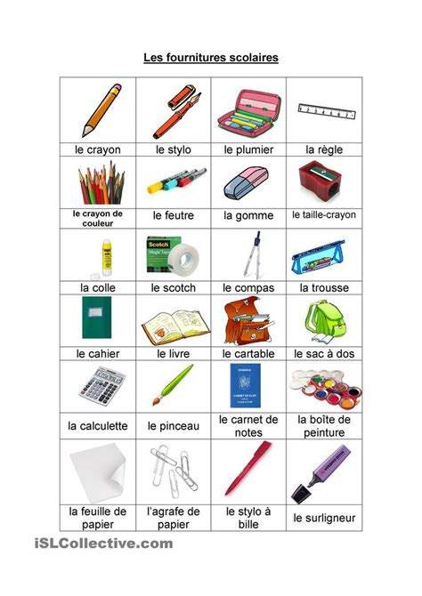 les fournitures scolaires consultez aussi http www learnfrenchlab school in html