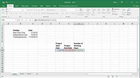 calculate number  working days