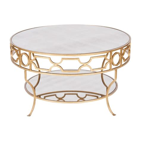round gold coffee table round gold coffee tables treillage cfg gold leaf round two